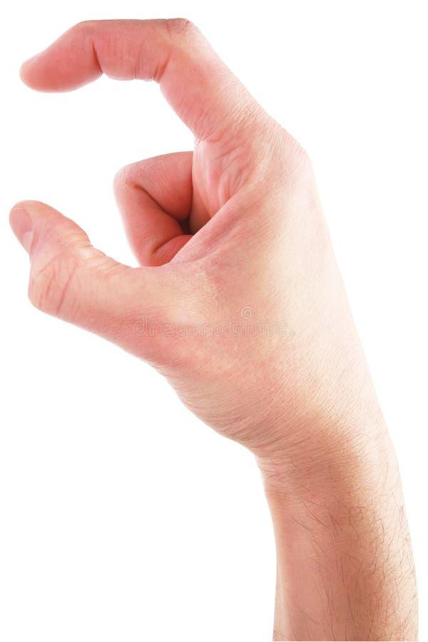 Hand som rymmer det osynliga objektet - materielbild royaltyfri foto
