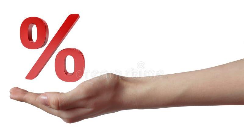Hand som rymmer det röda procenttecknet försäljning för glass hand för begrepp förstorande vektor illustrationer