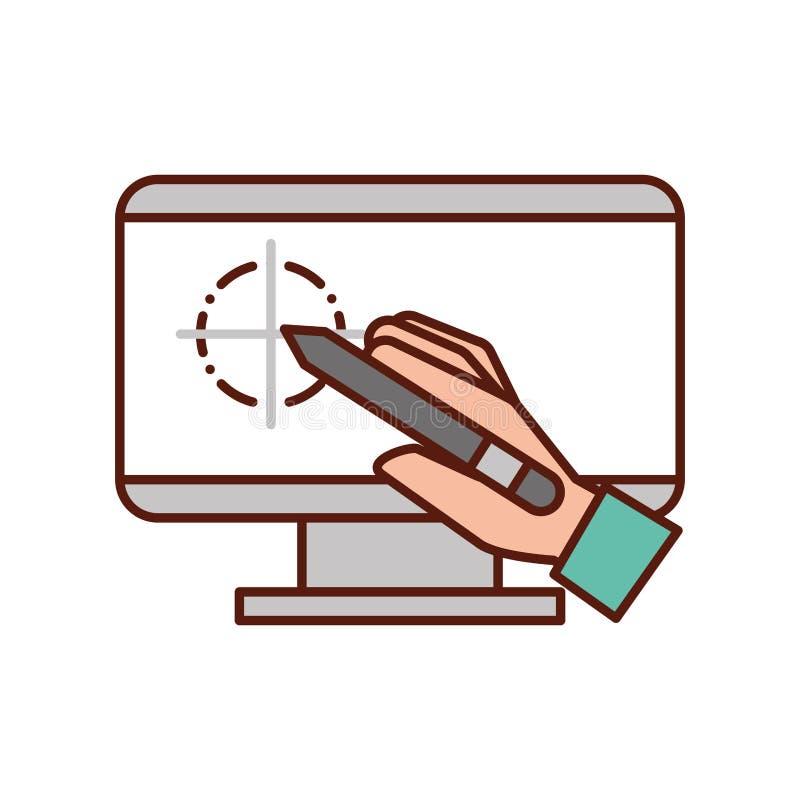 Hand som rymmer digital grafisk design för penndator royaltyfri illustrationer
