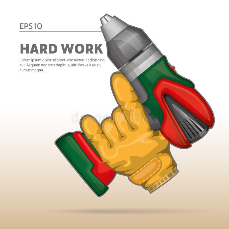 Hand som rymmer drillborren vektor illustrationer