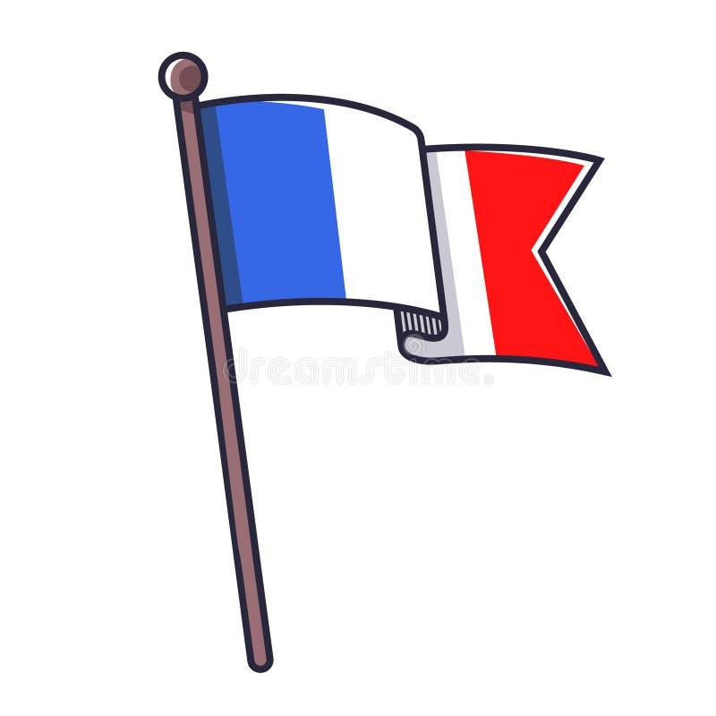 Hand som rymmer en fransk flagga stock illustrationer