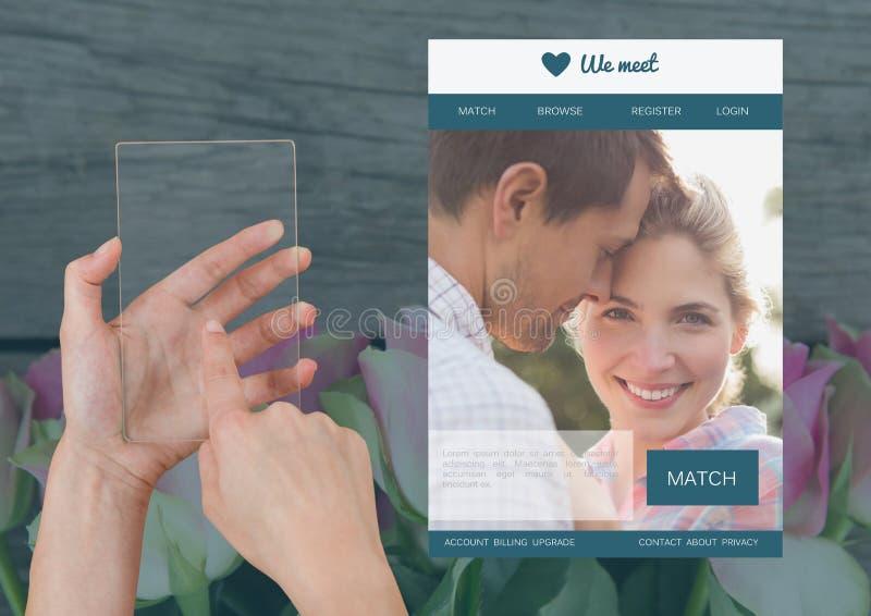 Hand som rymmer en glass minnestavla med att datera App-manöverenheten arkivbild
