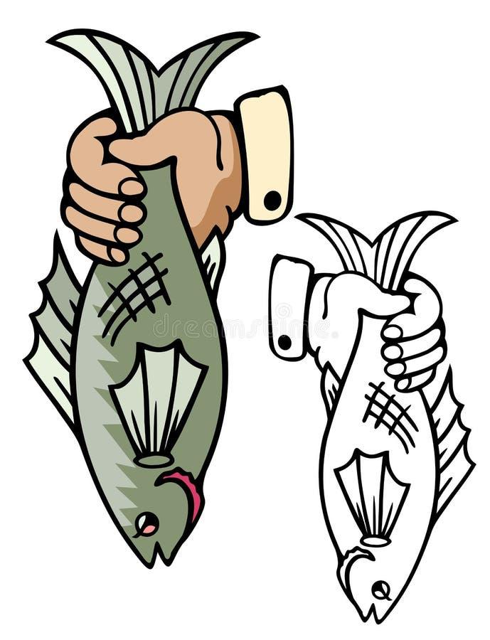 Hand som rymmer en hel fisk vektor illustrationer