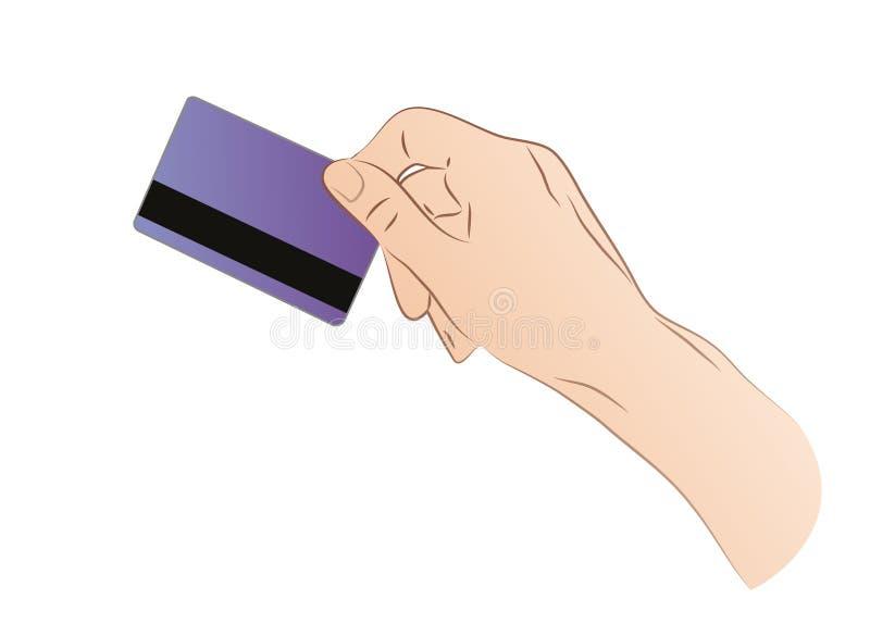 Hand som rymmer en kreditkort royaltyfri illustrationer