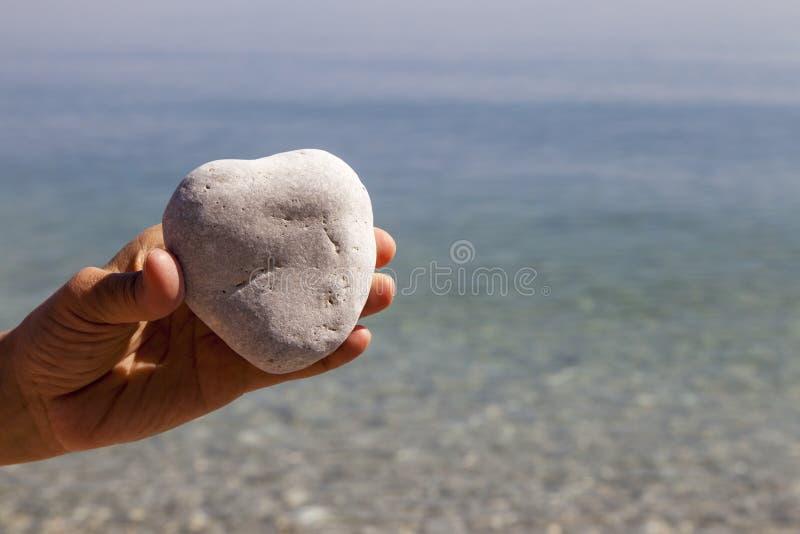 Hand som rymmer en naturlig hjärta-formad sten arkivfoto