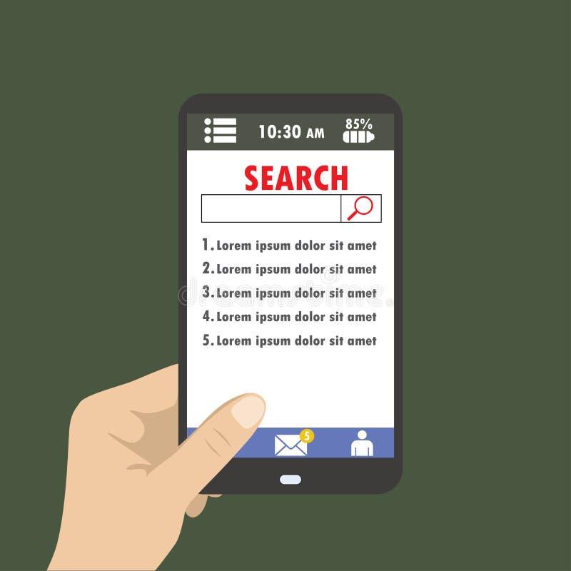Hand som rymmer en smartphone på sökandet för menyskärm vektor illustrationer