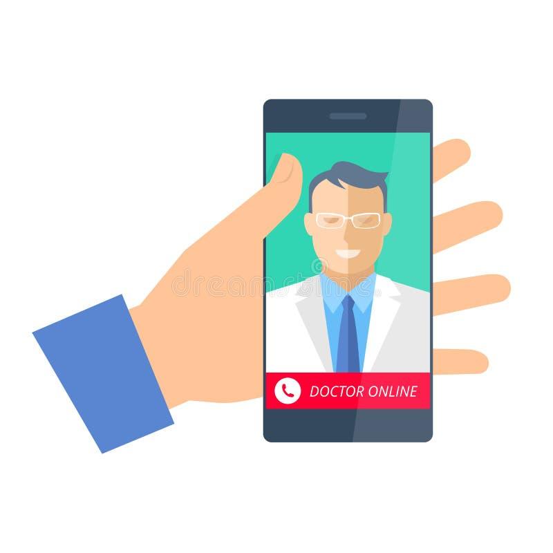 Hand som rymmer en telefon med doktorn online- Telemedicine och telehe royaltyfri illustrationer