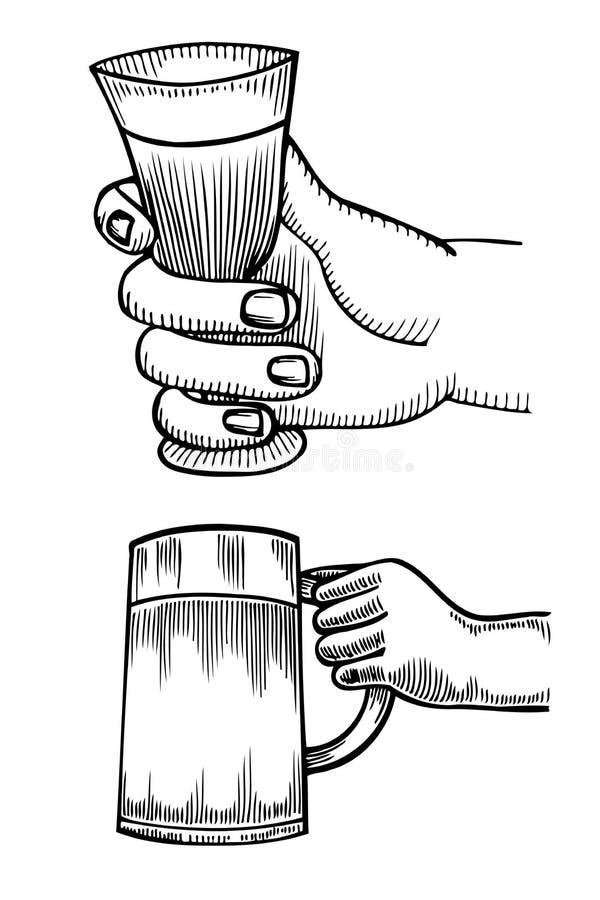 Hand som rymmer ett fullt exponeringsglas av öl vektor illustrationer