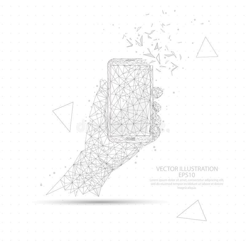 Hand som rymmer ett lågt poly för smart telefontrådram vektor illustrationer