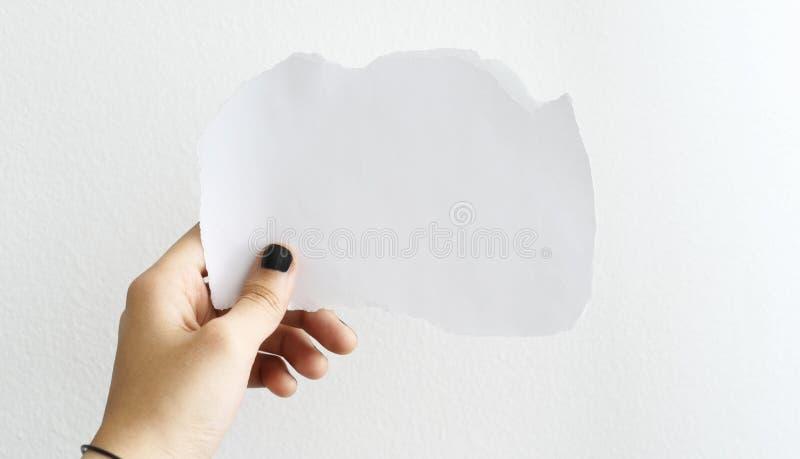 Hand som rymmer ett vitt blankt papper royaltyfria bilder