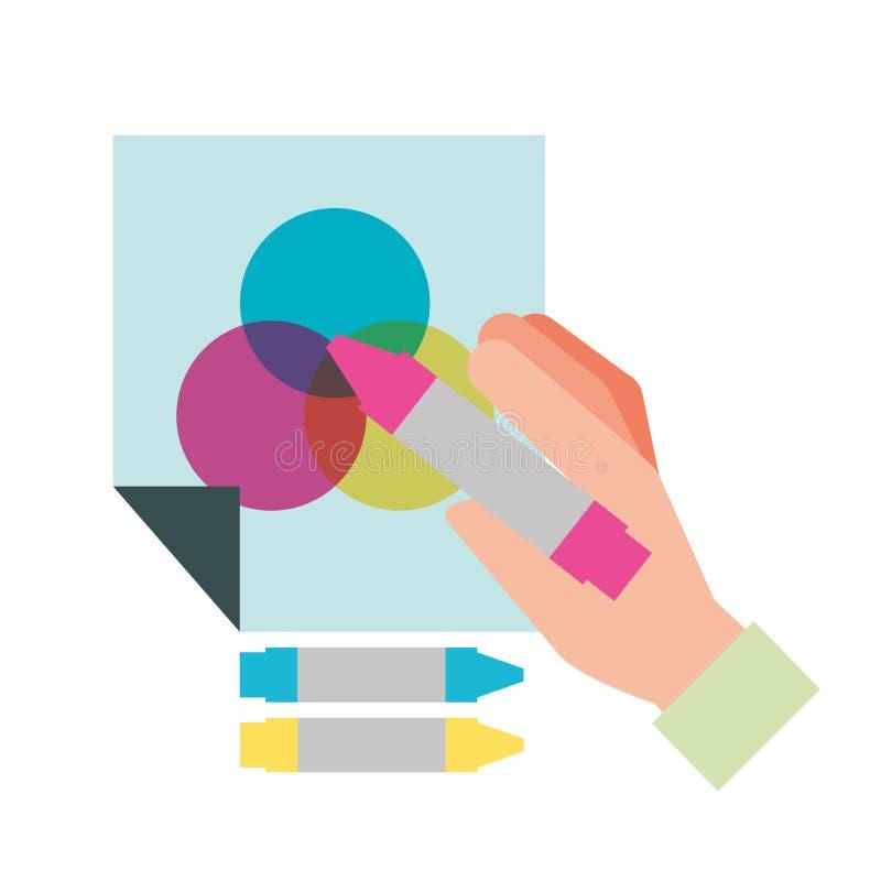 Hand som rymmer färgfärgpennan dragen på papper royaltyfri illustrationer