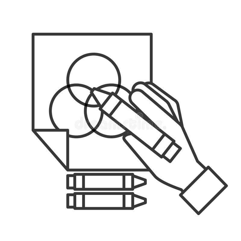 Hand som rymmer färgfärgpennan dragen på papper vektor illustrationer