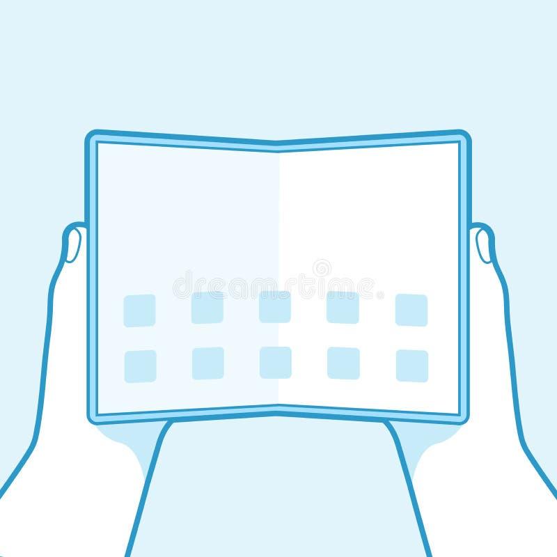 Hand som rymmer för telefonöversikt för hopfällbar skärm den smarta symbolen isolerad på blå bakgrund vektor illustrationer