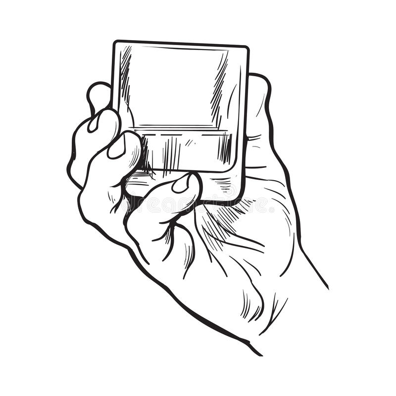 Hand som rymmer fullt exponeringsglas av whisky royaltyfri illustrationer