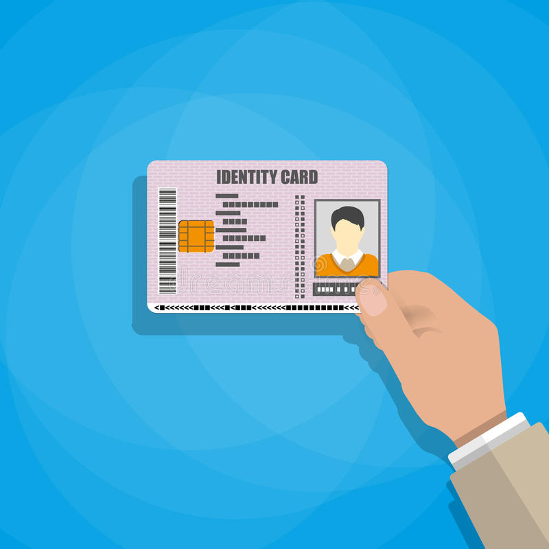 Hand som rymmer ID-kortet vektor illustrationer