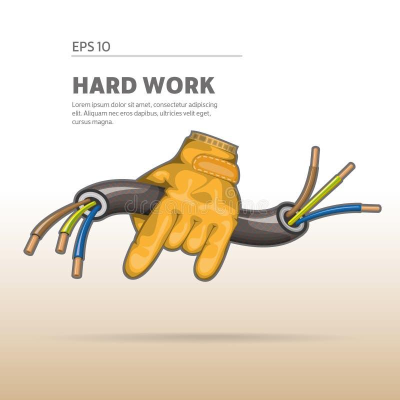 Hand som rymmer kabeln vektor illustrationer
