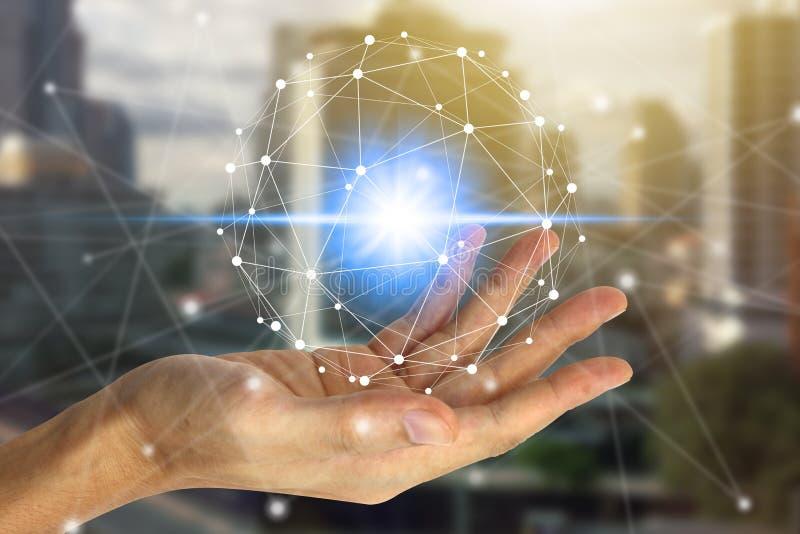 Hand som rymmer med den faktiska skärmen över nätverksanslutningen arkivbild