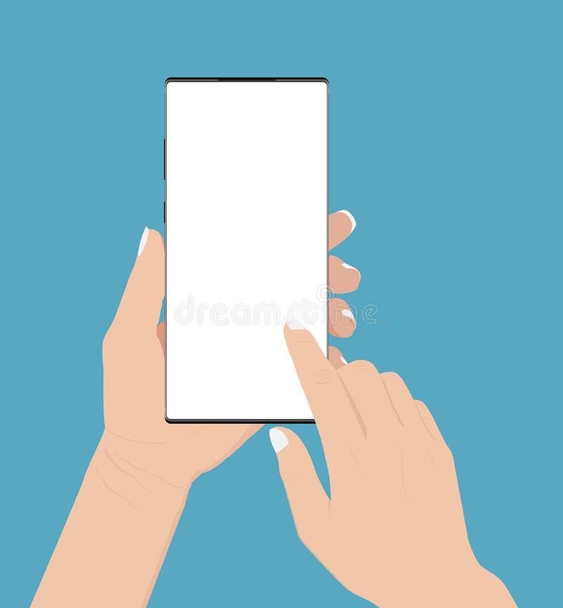 Hand som rymmer och trycker på telefonen som isoleras på vit bakgrund vektor illustrationer