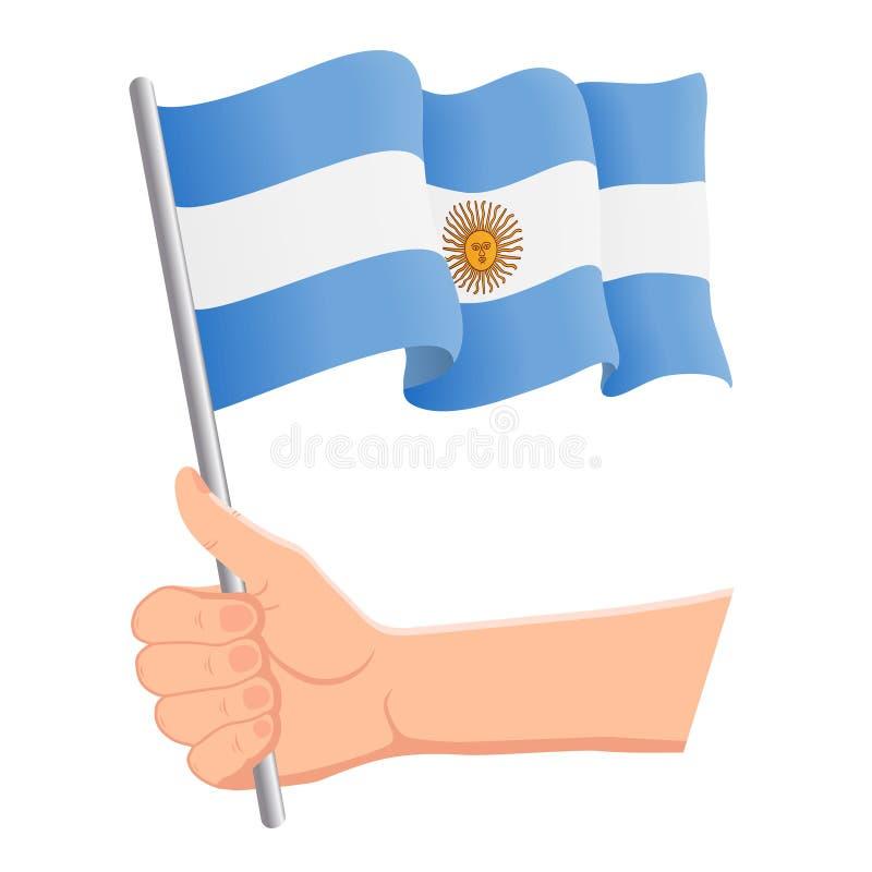 Hand som rymmer och vinkar nationsflaggan av Argentina r ocks? vektor f?r coreldrawillustration vektor illustrationer