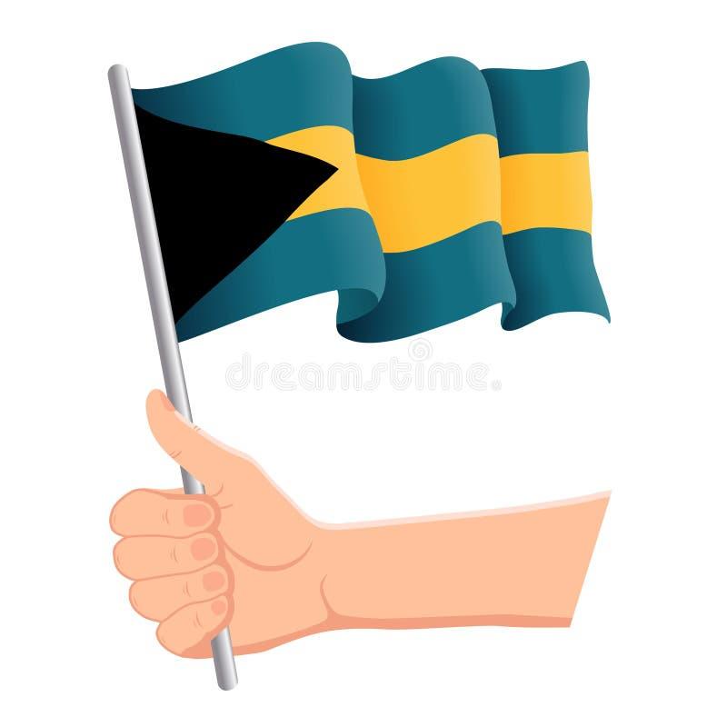 Hand som rymmer och vinkar nationsflaggan av Bahamas r ocks? vektor f?r coreldrawillustration stock illustrationer