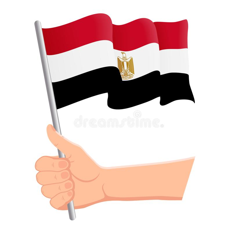 Hand som rymmer och vinkar nationsflaggan av Egypten r ocks? vektor f?r coreldrawillustration royaltyfri illustrationer