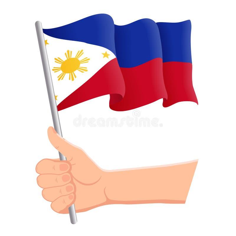 Hand som rymmer och vinkar nationsflaggan av Filippinerna r ocks? vektor f?r coreldrawillustration stock illustrationer