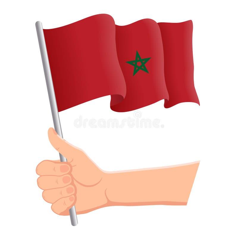 Hand som rymmer och vinkar nationsflaggan av Marocko r ocks? vektor f?r coreldrawillustration royaltyfri illustrationer