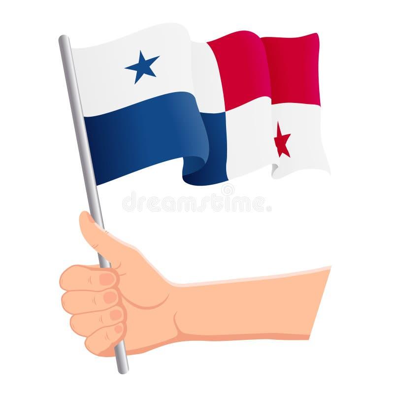 Hand som rymmer och vinkar nationsflaggan av Panama r ocks? vektor f?r coreldrawillustration vektor illustrationer