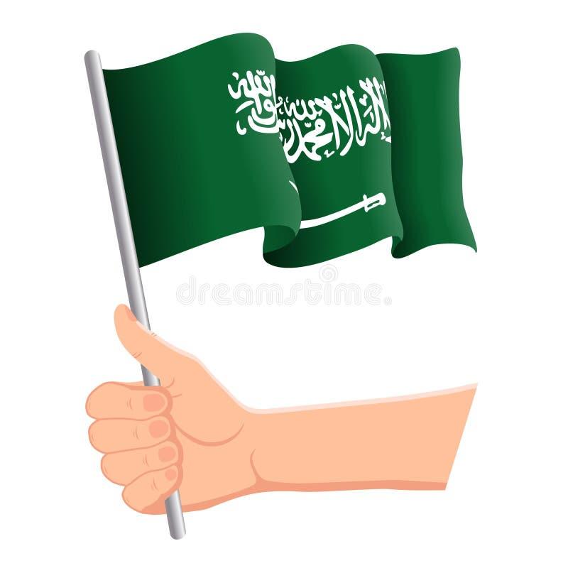 Hand som rymmer och vinkar nationsflaggan av Saudiarabien r vektor royaltyfri illustrationer