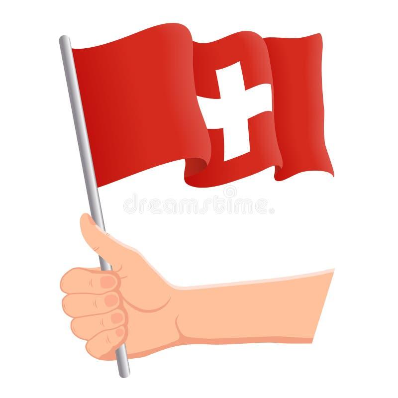 Hand som rymmer och vinkar nationsflaggan av Schweiz r ocks? vektor f?r coreldrawillustration royaltyfri illustrationer