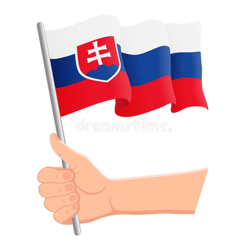 Hand som rymmer och vinkar nationsflaggan av Slovakien r ocks? vektor f?r coreldrawillustration vektor illustrationer
