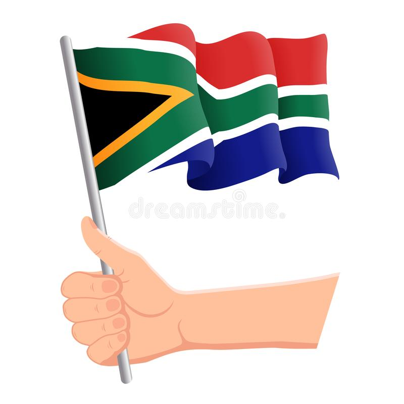 Hand som rymmer och vinkar nationsflaggan av Sydafrika r vektor royaltyfri illustrationer