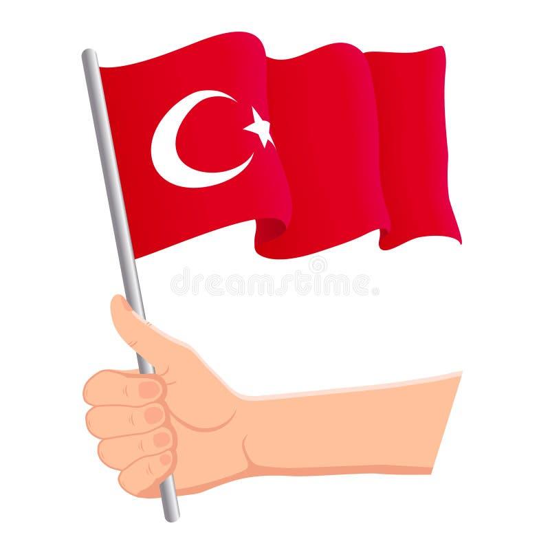 Hand som rymmer och vinkar nationsflaggan av Turkiet r ocks? vektor f?r coreldrawillustration stock illustrationer