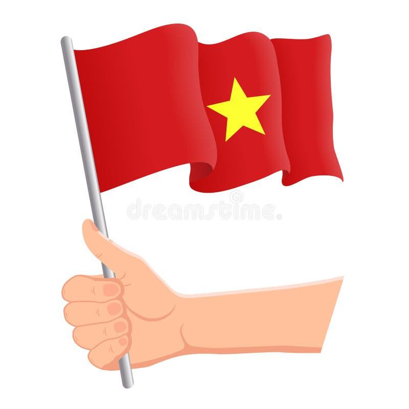 Hand som rymmer och vinkar nationsflaggan av Vietnam r ocks? vektor f?r coreldrawillustration stock illustrationer