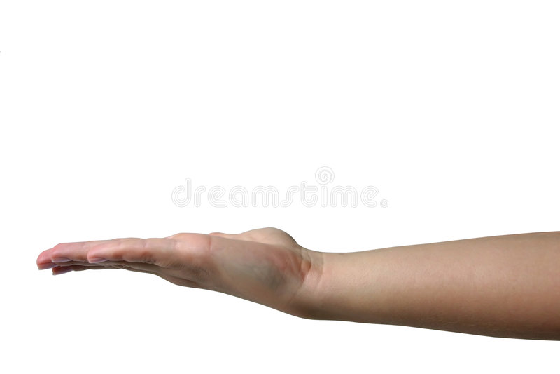 hand som rymmer osynligt objekt royaltyfri foto