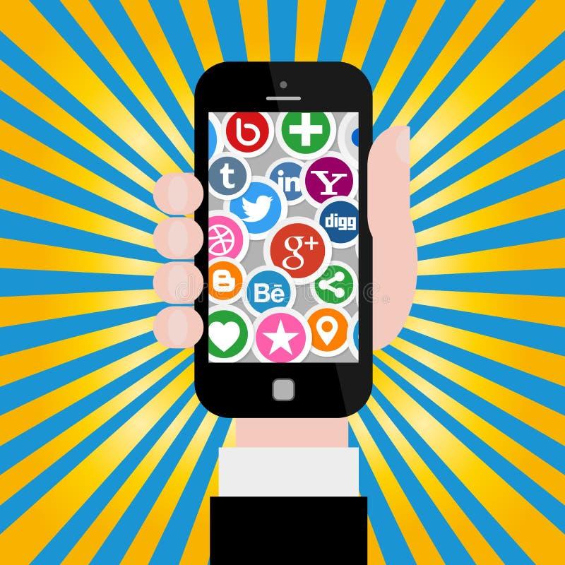 Hand som rymmer Smartphone med sociala massmediasymboler vektor illustrationer