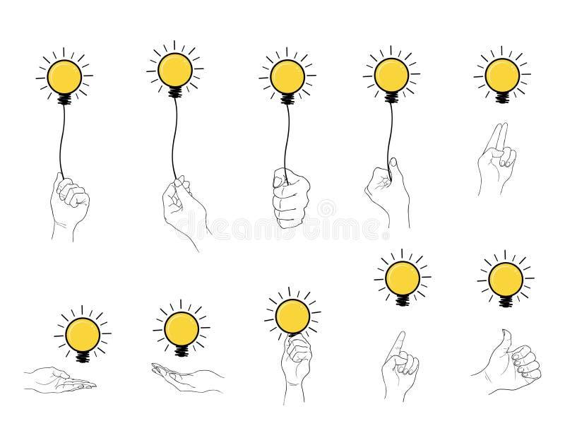 Hand som rymmer uppsättningen för ljus kula på vit bakgrund stock illustrationer
