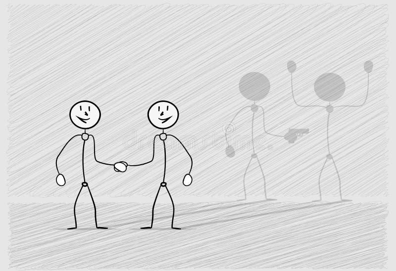 Hand som skakar med skugga stock illustrationer