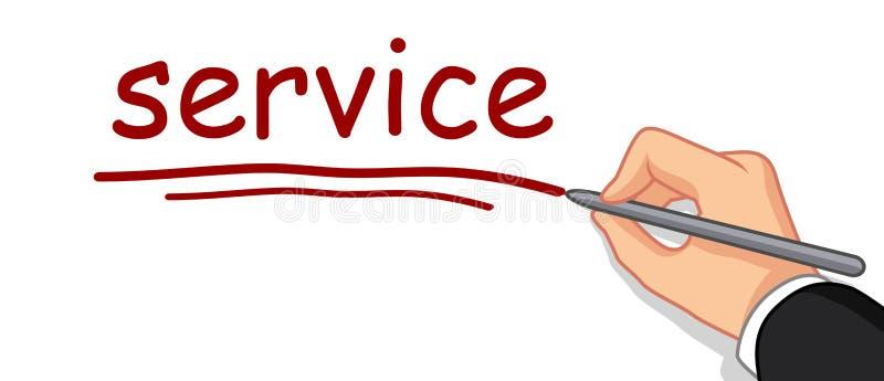 Hand som skriver tjänste- ord vektor illustrationer