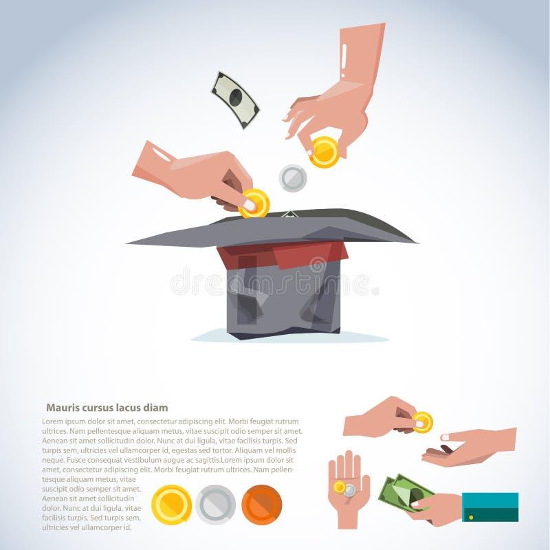 Hand som tar pengar till hatten Donera, och ge begrepp komm med va vektor illustrationer