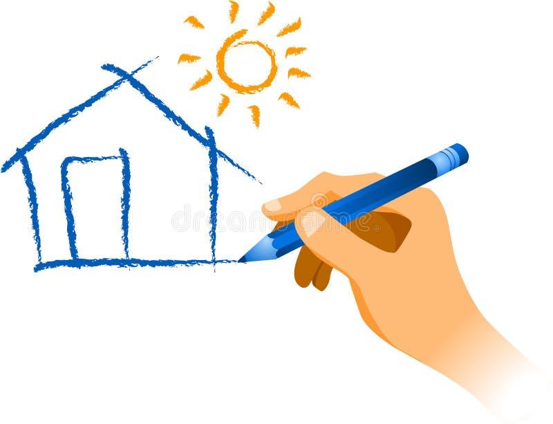 Hand som tecknar ett hus med sunen royaltyfri illustrationer