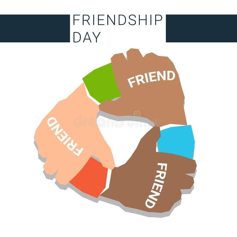 Hand som tillsammans rymmer banret för dag för bästa vänför evigtkamratskap stock illustrationer