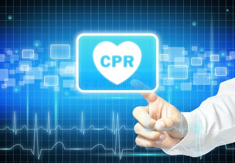 Hand som trycker på CPR-tecknet på den faktiska skärmen arkivbild