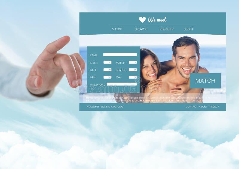 Hand som trycker på en datera App-manöverenhet fotografering för bildbyråer