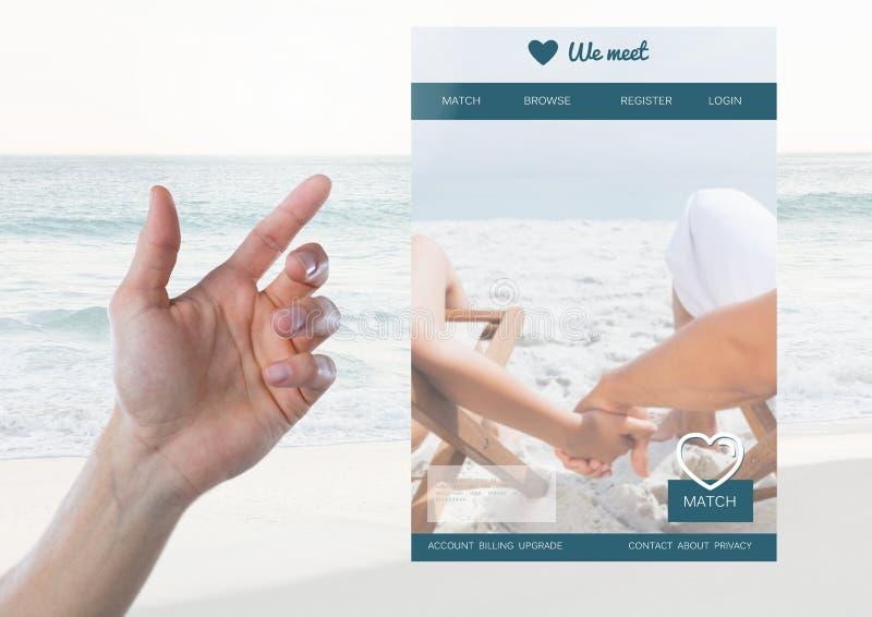 Hand som trycker på en datera App-manöverenhet arkivbild