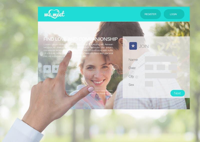 Hand som trycker på en datera App-manöverenhet arkivfoton
