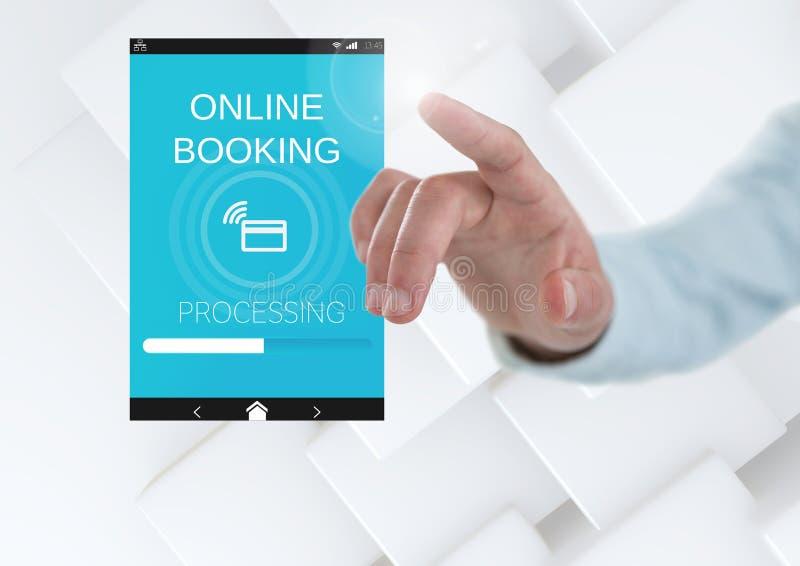 Hand som trycker på en online-boka App-manöverenhet royaltyfria bilder