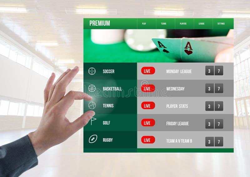 Hand som trycker på en slå vad App-manöverenhet royaltyfri bild