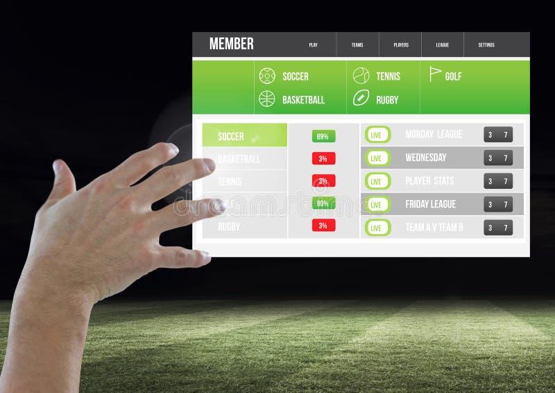 Hand som trycker på en slå vad App-manöverenhetsstadion arkivbild