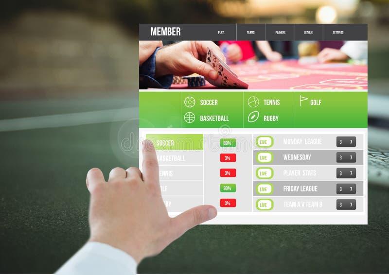 Hand som trycker på en slå vad App-manöverenhetstennis arkivfoto
